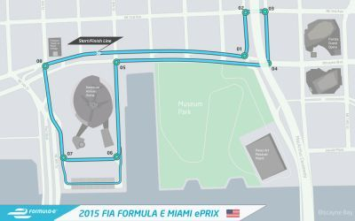 The circuit layout for the Miami ePrix hosting the first ever Formula E race
