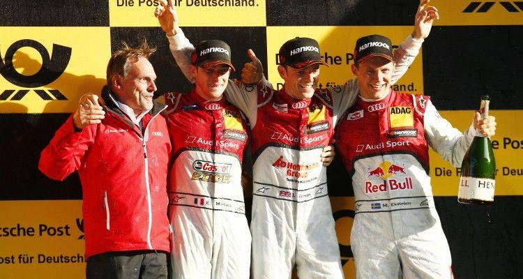 Motorsports: DTM race Lausitzring, DTM), XXX,  #48 Edoardo Mortara (ITA, Audi Sport Team Abt, Audi RS 5 DTM) #53 Jamie Green (GBR, Audi Sport Team Rosberg, Audi RS 5 DTM) #5 Mattias Ekstroem (SWE, Audi Sport Team Abt Sportsline, Audi RS 5 DTM)