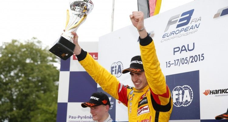 Prize giving ceremony, 3 Antonio Giovinazzi (ITA, Jagonya Ayam with Carlin, Dallara F312 - Volkswagen), FIA Formula 3 European Championship, round 3, race 3, Pau (FRA) - 15. - 17. May 2015