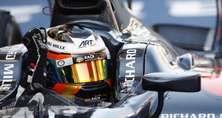 Circuit de Catalunya, Barcelona, Spain.  Saturday 09 May 2015.  Stoffel Vandoorne (BEL, ART Grand Prix) celebrates his win in Parc Ferme. World Copyright: Sam Bloxham/LAT Photographic. ref: Digital Image _G7C2332