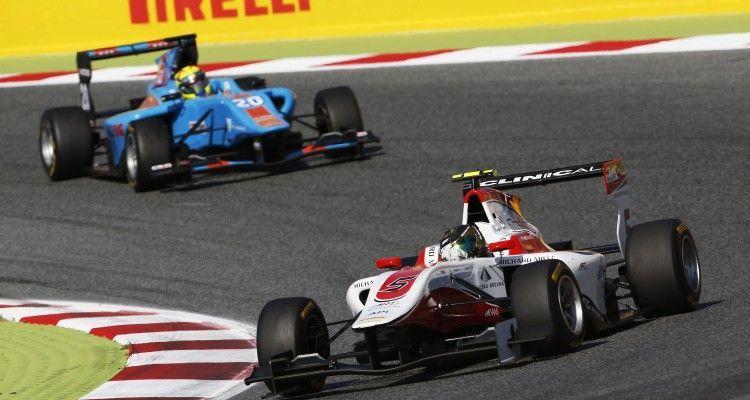 2015 GP3 Series Round 1. Circuit de Catalunya, Barcelona, Spain. Saturday 9 May 2015. Marvin Kirchhofer (GER, ART Grand Prix) leads Pal Varhaug (NOR, Jenzer Motorsport). Photo: Zak Mauger/GP3 Series Media Service. ref: Digital Image _L0U4970