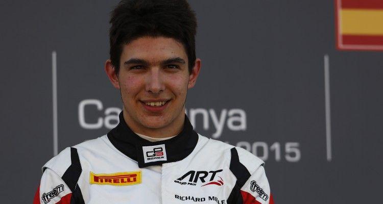 2015 GP3 Series Round 1. Circuit de Catalunya, Barcelona, Spain. Saturday 9 May 2015. Podium. Esteban Ocon (FRA, ART Grand Prix). Photo: Zak Mauger/GP3 Series Media Service. ref: Digital Image _L0U5030