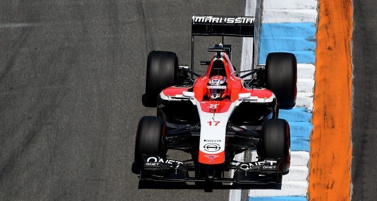 HOCKENHEIM, GERMANY - JULY 18:  Jules Bianchi of France and Marussia drives during practice ahead of the German Grand Prix at Hockenheimring on July 18, 2014 in Hockenheim, Germany.  (Photo by Mark Thompson/Getty Images)