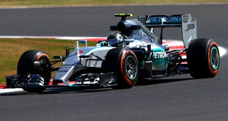 NORTHAMPTON, ENGLAND - JULY 03:  Nico Rosberg of Germany and Mercedes GP drives during practice for the Formula One Grand Prix of Great Britain at Silverstone Circuit on July 3, 2015 in Northampton, England.  (Photo by Mark Thompson/Getty Images)