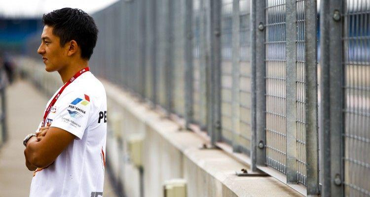 2015 GP2 Series Round 5. Silverstone, Northamptonshire, England. Thursday 2 July 2015. Rio Haryanto (INA, Campos Racing). Photo: Zak Mauger/GP2 Series Media Service. ref: Digital Image _MG_0537
