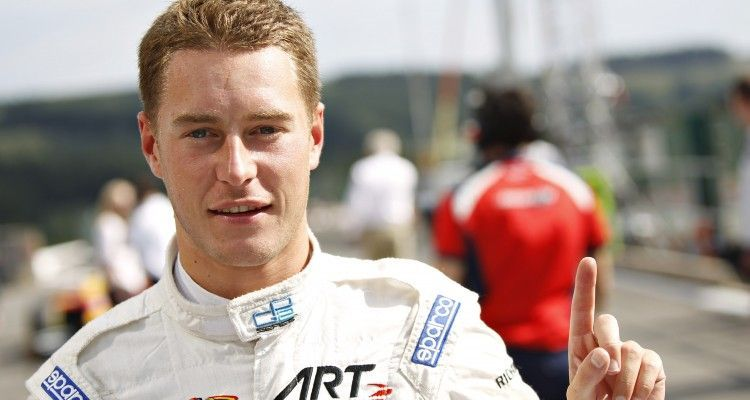 2015 GP2 Series Round 7. Spa-Francorchamps, Spa, Belgium.  Friday 21 August 2015. Stoffel Vandoorne (BEL, ART Grand Prix) celebrates his pole position in Parc Ferme. Photo: Sam Bloxham/GP2 Media Service  ref: Digital Image _G7C6493