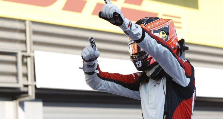 2015 GP3 Series Round 5.  Spa-Francorchamps, Spa, Belgium.  Saturday 22 August 2015. Esteban Ocon (FRA, ART Grand Prix) celebrates his win in Parc Ferme. Photo: Sam Bloxham/GP3 Series Media Service ref: Digital Image _G7C7553