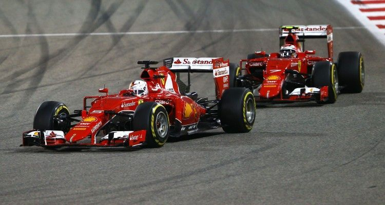 BAHRAIN, BAHRAIN - APRIL 19:  Sebastian Vettel of Germany and Ferrari and Kimi Raikkonen of Finland and Ferrari drive during the Bahrain Formula One Grand Prix at Bahrain International Circuit on April 19, 2015 in Bahrain, Bahrain.  (Photo by Mark Thompson/Getty Images)