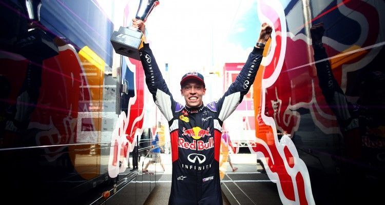 BUDAPEST, HUNGARY - JULY 26:  Daniil Kvyat of Russia and Infiniti Red Bull Racing celebrates after finishing second in the Formula One Grand Prix of Hungary at Hungaroring on July 26, 2015 in Budapest, Hungary.  (Photo by Mark Thompson/Getty Images)