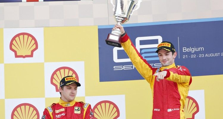 2015 GP2 Series Round 7. Spa-Francorchamps, Spa, Belgium.  Sunday 23 August 2015. Alexander Rossi (USA, Racing Engineering) celebrates on the podium with Jordan King (GBR, Racing Engineering). Photo: Sam Bloxham/GP2 Media Service  ref: Digital Image _SBL9498
