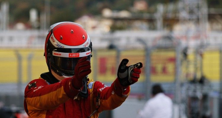 2015 GP2 Series Round 9.  Sochi Autodrom, Sochi, Russia.  Saturday 10 October 2015.  Alexander Rossi (USA, Racing Engineering) celebrates his win in Parc Ferme. Photo: Sam Bloxham/GP2 Series Media Service.  ref: Digital Image _SBL3547