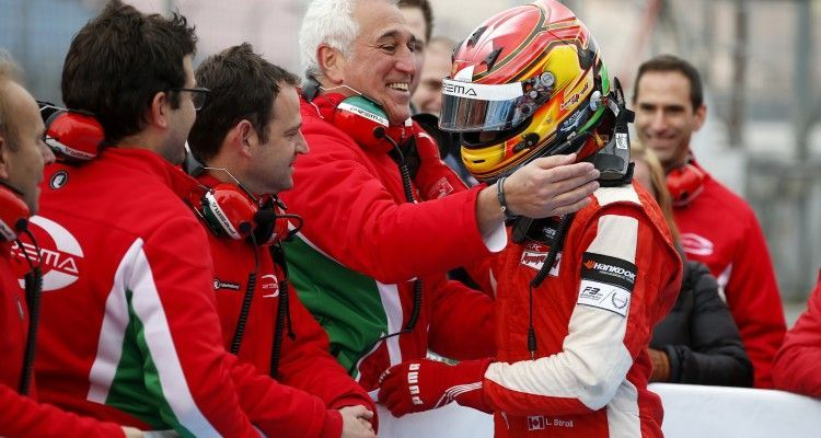 Lawrence Stroll congratulating his son 25 Lance Stroll (CAN, Prema Powerteam, Dallara F312 – Mercedes-Benz), FIA Formula 3 European Championship, round 11, race 1, Hockenheim (GER) - 16. - 18. October 2015 *** Local Caption *** Copyright (c) FIA Formula 3 European Championship / Thomas Suer