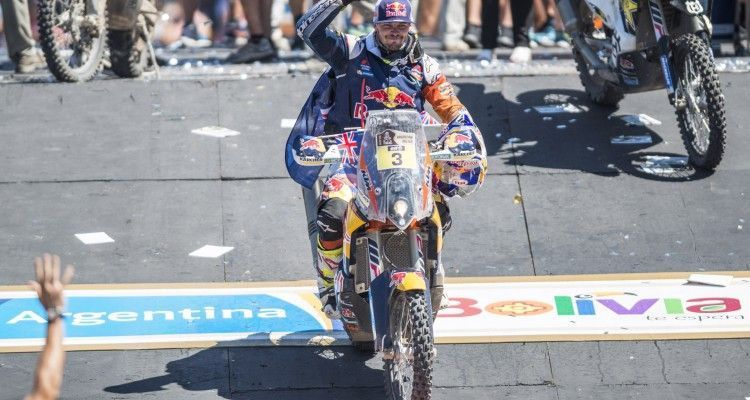 Toby Price (AUS) of Red Bull KTM Factory Team celebrates at the podium of Rally Dakar 2016 in Rosario, Argentina on January 16th, 2016