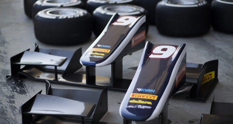 2015 GP2 Series Round 10. Bahrain International Circuit, Bahrain Wednesday 18 November 2015. Nose cones of Mitch Evans (NZL, RUSSIAN TIME)  Photo: Sam Bloxham/GP2 Series Media Service. ref: Digital Image _SBL1590