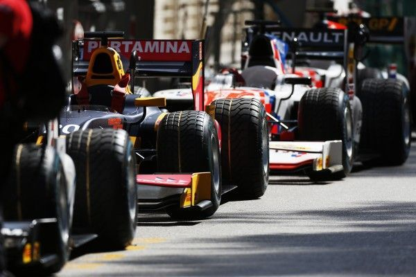 2016 GP2 Series Round 2 Monte Carlo, Monaco. Friday 27 May 2016. GP2 cars waiting to be pushed into the pit lane Photo: Sam Bloxham/GP2 Series Media Service. ref: Digital Image _R6T4730