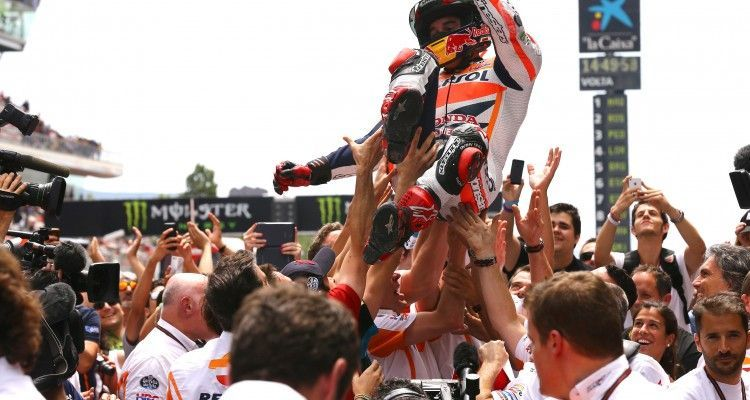 Marc Marquez (ESP/ Honda) celebrates after Moto Grand Prix 2014  in Barcelona, Catalunya, Spain on June 15th, 2014