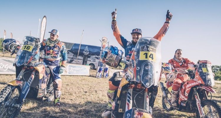 Sam Sunderland (GBR) of Red Bull KTM Factory Team at the finish line of stage 12 of Rally Dakar 2017 from Rio Cuarto to Buenos Aires, Argentina on January 14, 2017.