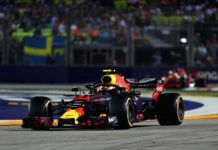 Max Verstappen leading Sebastian Vettel