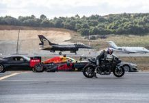 F1 up against cars, bike and jets