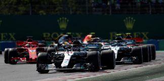 Lewis Hamilton leads Valtteri Bottas and Sebastian Vettel