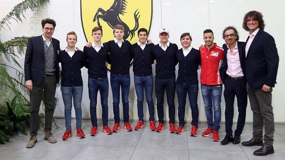 Antonio Fuoco and rest of Ferrari academy members