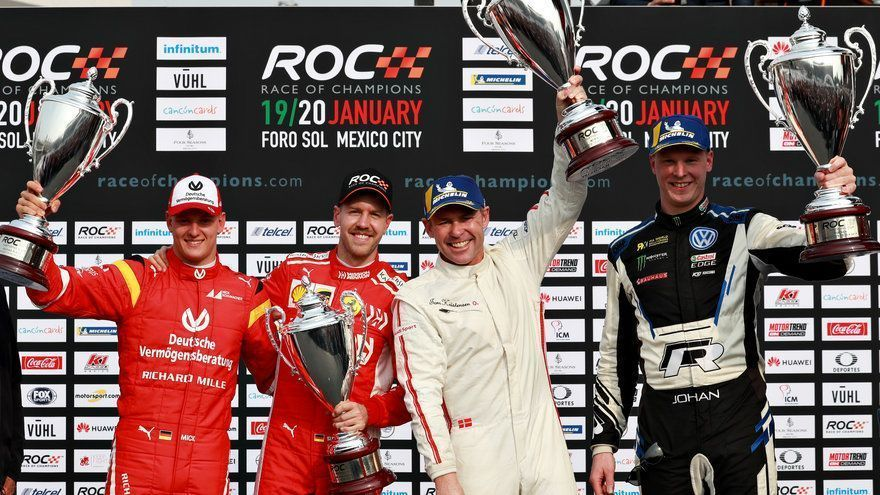 Race of Champions, Nations Cup winners Tome Kristensen and Johan Kristofferson on podium