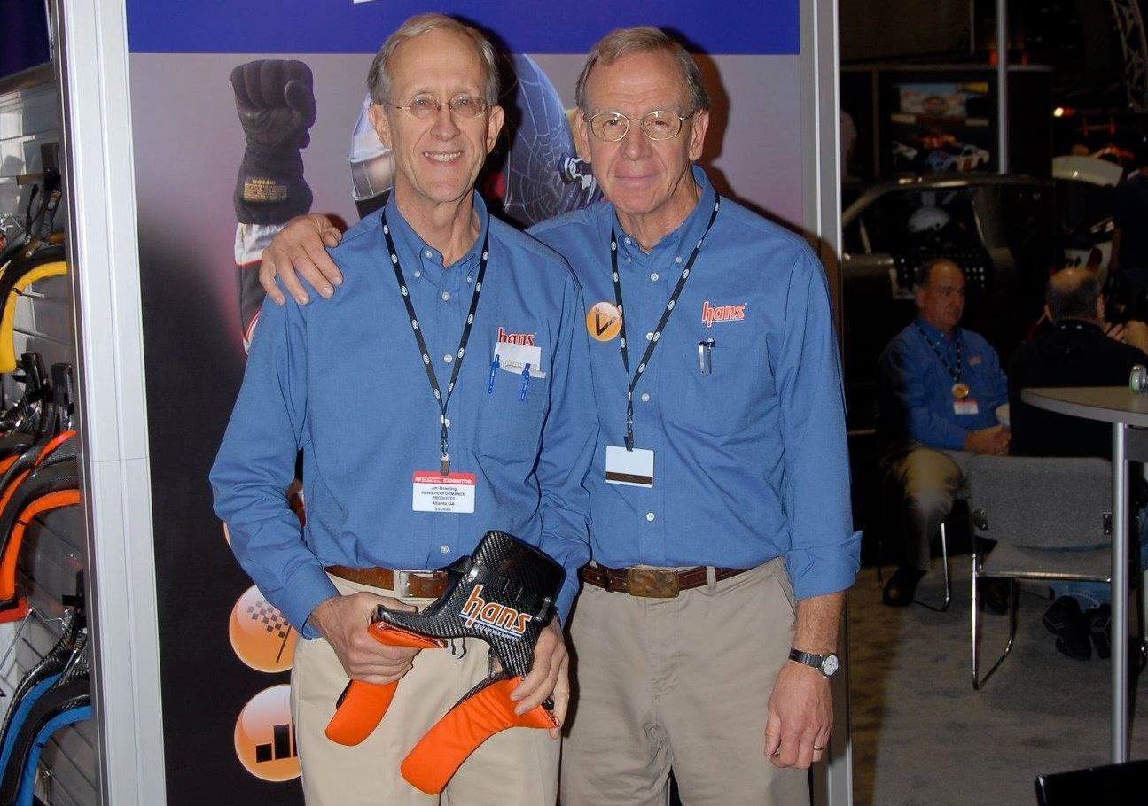 Dr. Robert Hubbard with HANS device