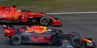Max Verstappen battling Ferrari in F1 Chinese GP
