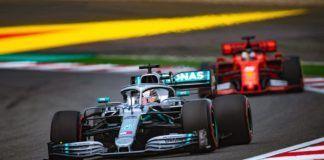 Lewis Hamilton ahead of Sebastian Vettel