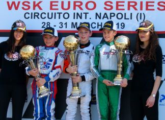 William MacIntyre from Kart Republic (Parolin/TM Racing/Vega) is the winner in the WSK Euro Series at Sarno. Alongside, Alex Powell from Energy and Andrea Filaferro from Newman