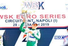 Nikita Bedrin (Tony Kart/Vortex/Vega) taking his first victory of the season in the opening round of WSK Euro Series.