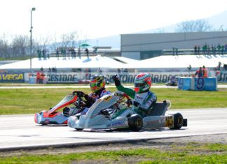 Simo Puhakka (Tony Kart/Vortex/Bridg) winning in front of Bas Lammers (Sodikart/TM Racing/Bridg)