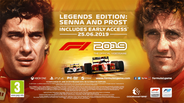 Legends Edition Cover Art from Codemasters for F1 2019 game having F2 too