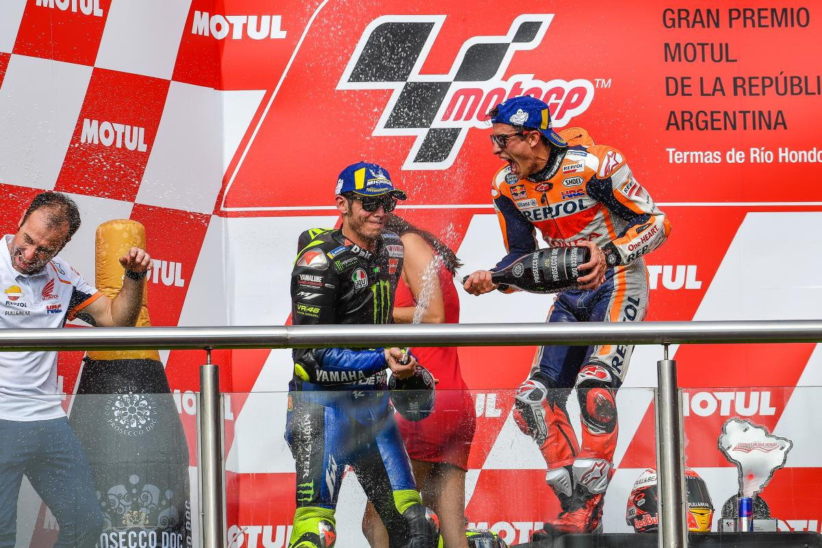 Marc Marquez and Valentino Rossi in Argentina MotoGP podium