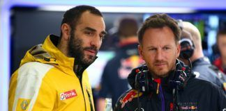 Red Bull Christian Horner with Renault Cyril Abiteboul, F1
