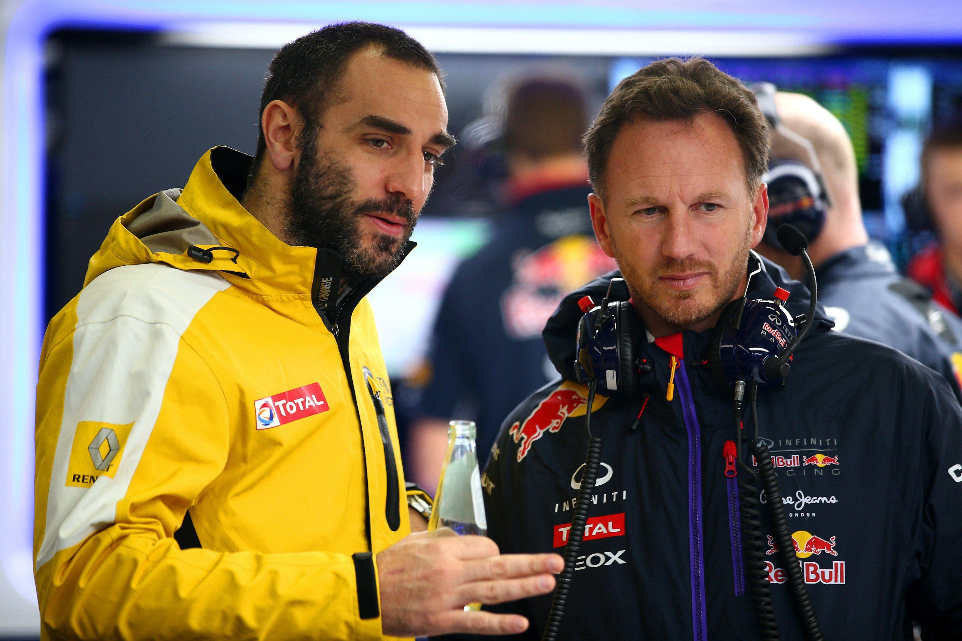 Red Bull Christian Horner with Renault Cyril Abiteboul, F1