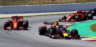 Max Verstappen ahead of Sebastian Vettel and Charles Leclerc