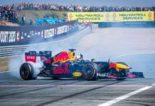 Max Verstappen and Pierre Gasly, F1 showrun at Zandvoort
