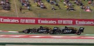 Kevin Magnussen and Romain Grosjean fight