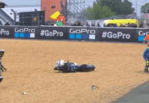 Karel Abraham and Joan Mir crash