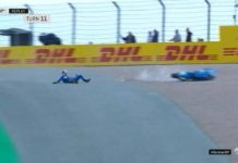 Alex Rins crash after Fabio Quartararo, MotoGP