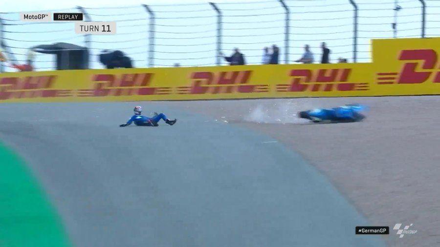 Alex Rins crash after Fabio Quartararo, MotoGP