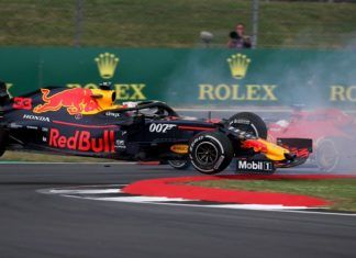 Max Verstappen being spun by Sebastian Vettel, British GP, F1