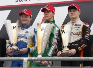 Taylor Barnard (Kart Republic/Iame/Bridgestone), Pedro Hiltbrand (Tony Kart/Vortex/Bridgestone), Dilano van T'Hoff (Exprit/TM Racing/Brigdestone)