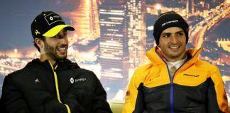 Zak Brown, Carlos Sainz, Daniel Ricciardo, Sebastian Vettel