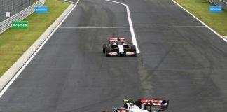 Guenther Steiner, Romain Grosjean, Kevin Magnussen, Haas