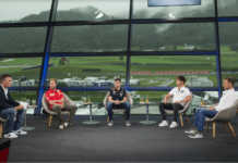 Sebastian Vettel, Christian Horner, Max Verstappen, Pierre Gasly