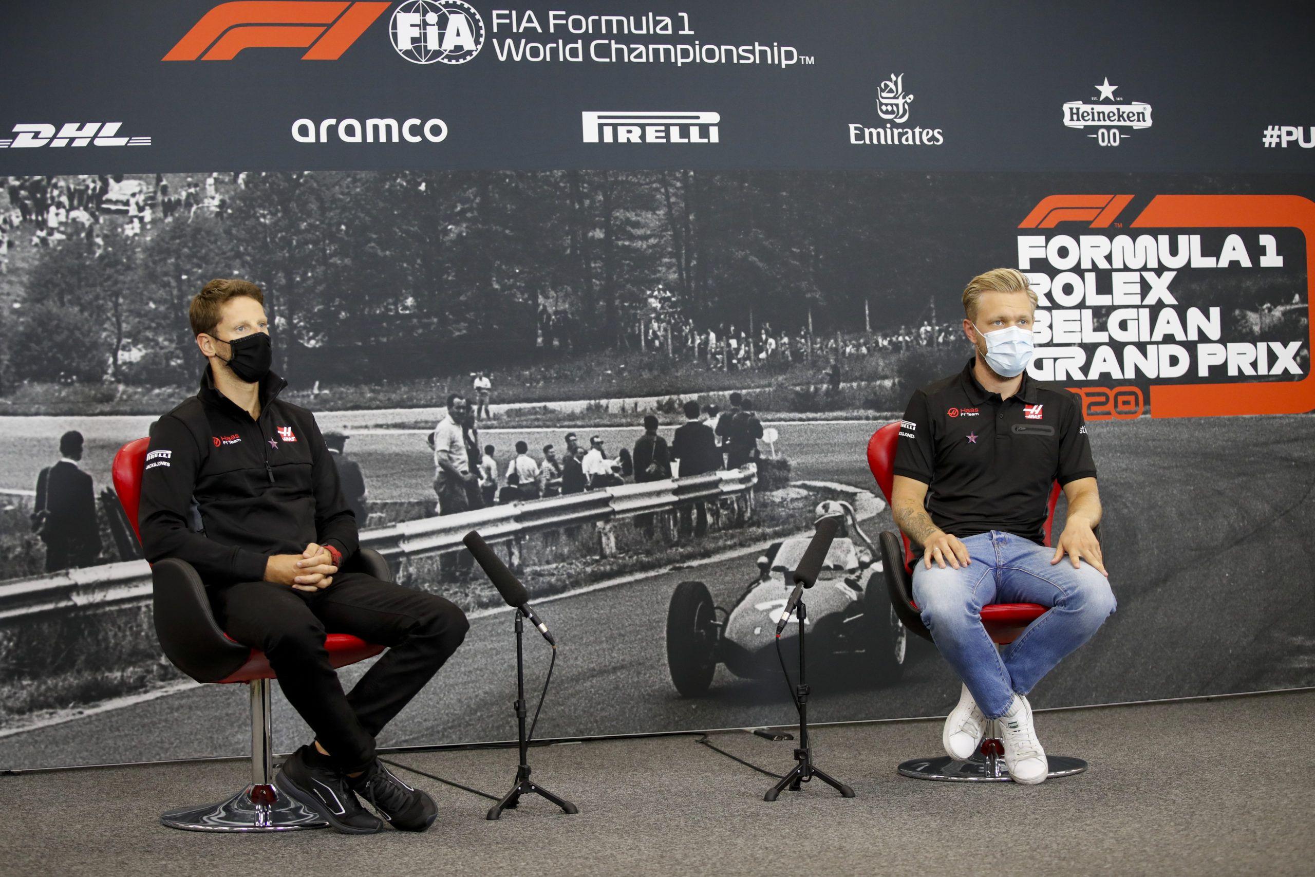 Haas, Guenther Steiner, Kevin Magnussen, Romain Grosjean, Sergio Perez