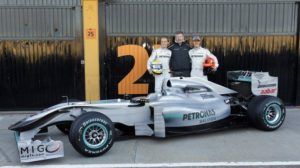 Rosberg, Brawn y Schumacher