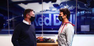 Sergio Perez, Christian Horner, Max Verstappen